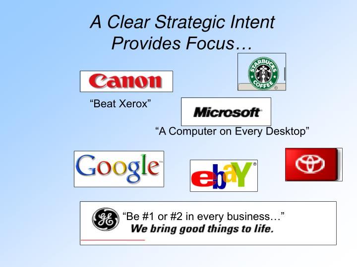 A Clear Strategic Intent