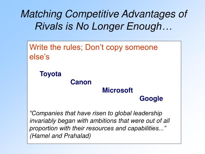 Matching Competitive Advantages of Rivals is No Longer Enough…