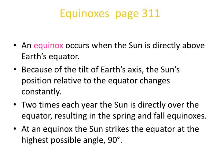 Equinoxes  page 311