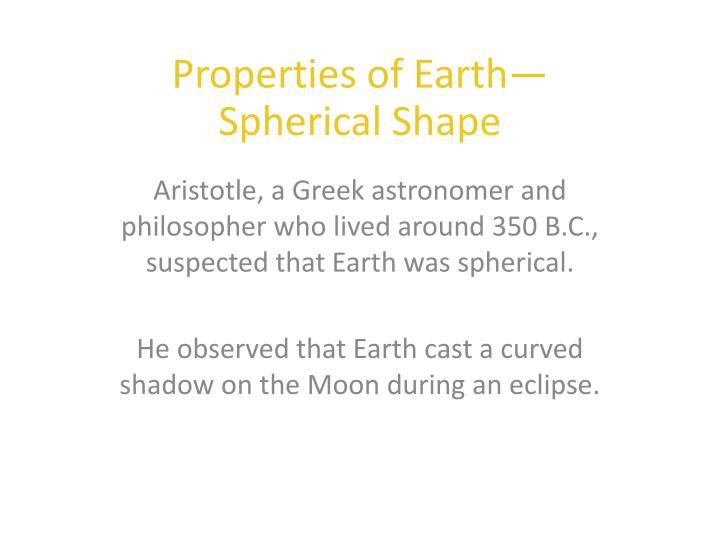 Properties of Earth