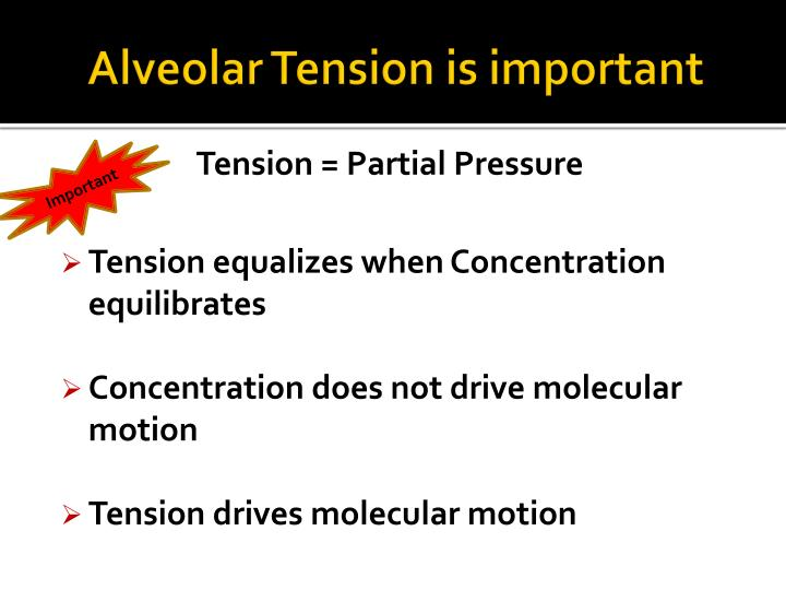 Alveolar Tension is important