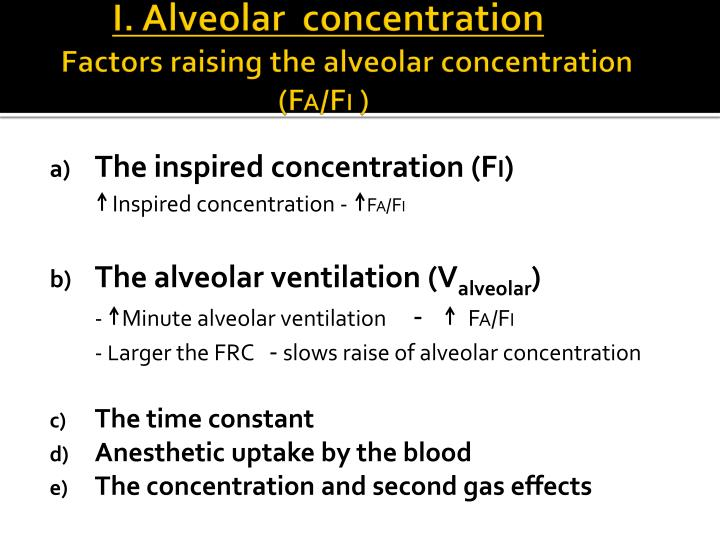 I. Alveolar  concentration