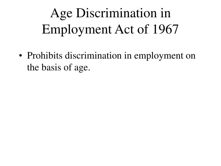 Age Discrimination in Employment Act of 1967