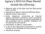 agency s eeo aa plans should include the following