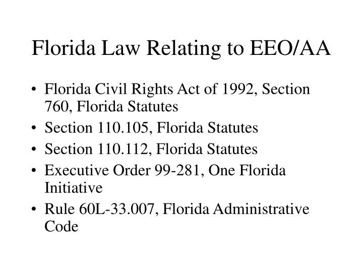 Florida Law Relating to EEO/AA