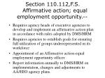 section 110 112 f s affirmative action equal employment opportunity