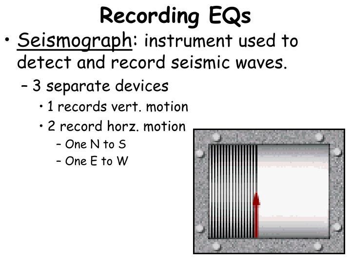 Recording EQs