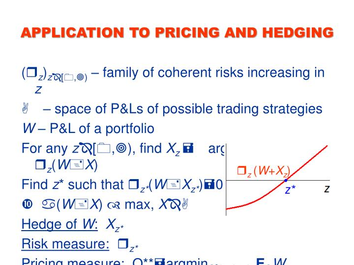 APPLICATION TO PRICING AND HEDGING