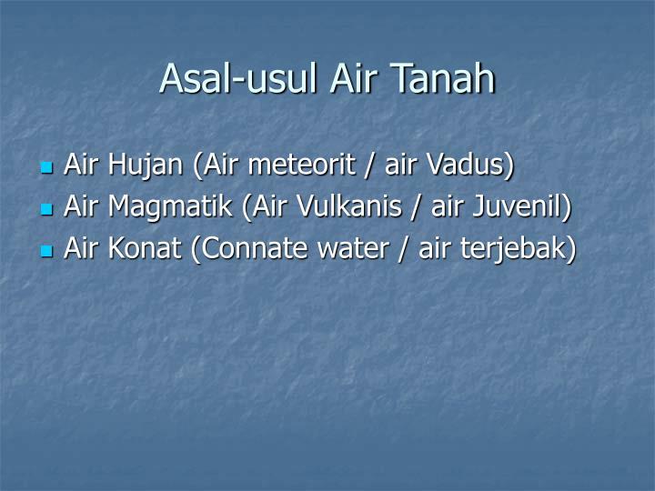 Asal-usul Air Tanah