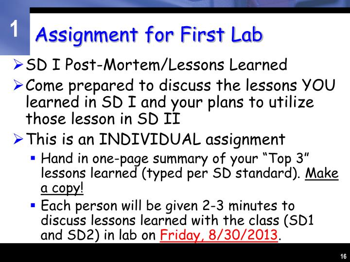 Assignment for First Lab