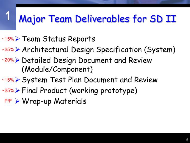 Major Team Deliverables for SD II