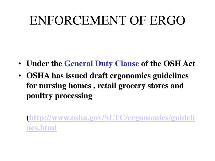 ENFORCEMENT OF ERGO