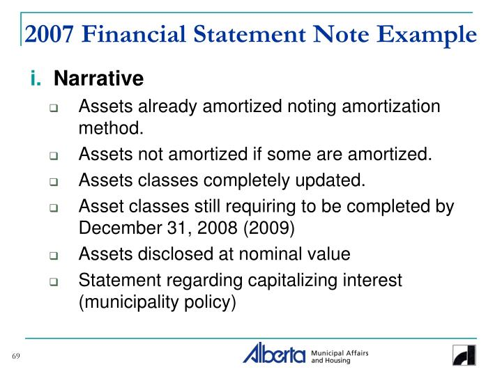 2007 Financial Statement Note Example