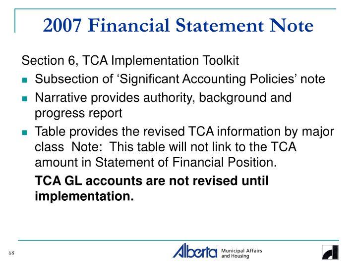2007 Financial Statement Note