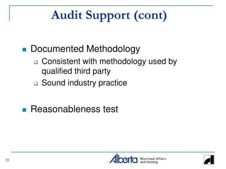 Audit Support (cont)
