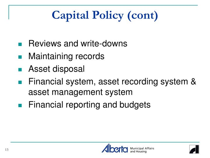 Capital Policy (cont)