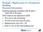 example replacement of a component building situation information