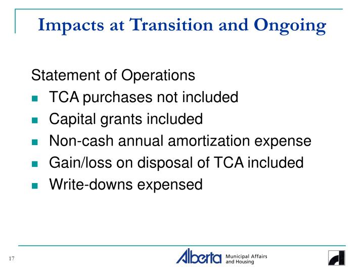 Impacts at Transition and Ongoing
