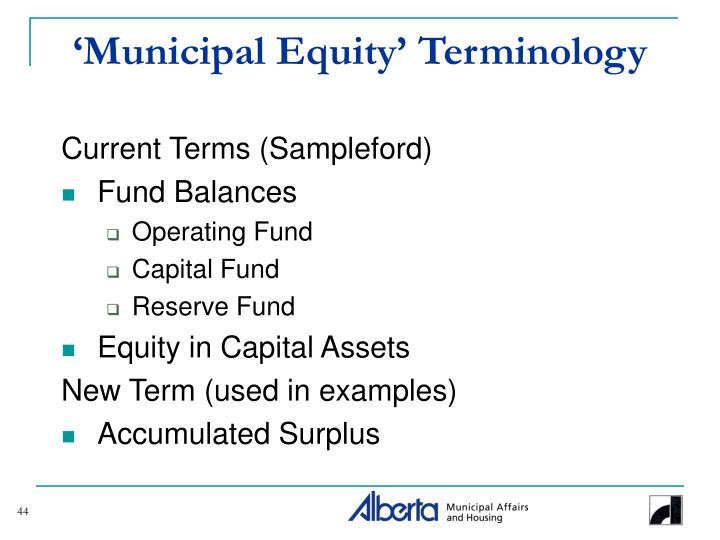 'Municipal Equity' Terminology