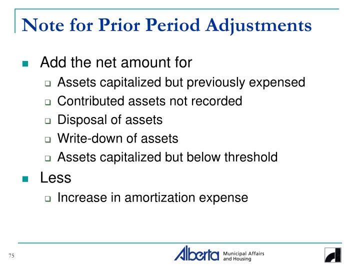 Note for Prior Period Adjustments