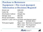 purchase to retirement equipment fire truck pumper information or decisions required