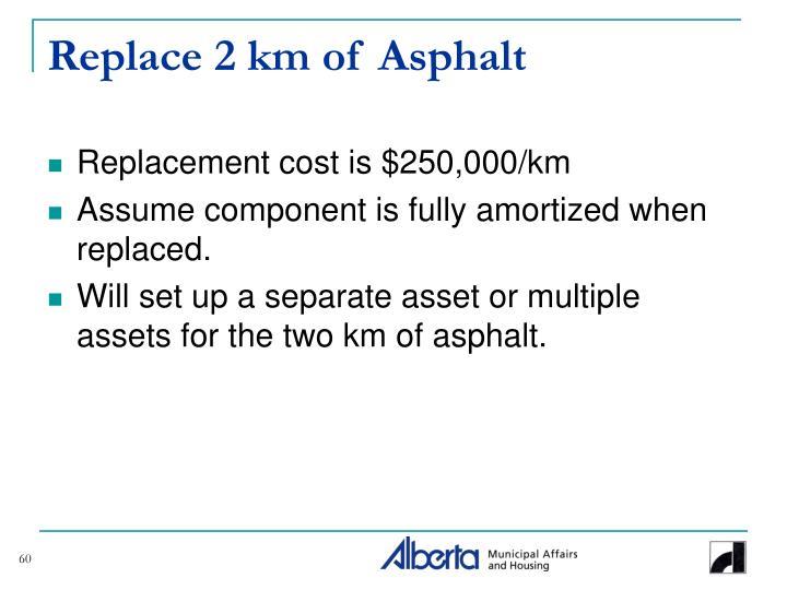 Replace 2 km of Asphalt