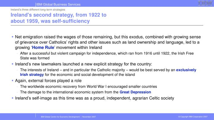 Ireland's three different long-term strategies