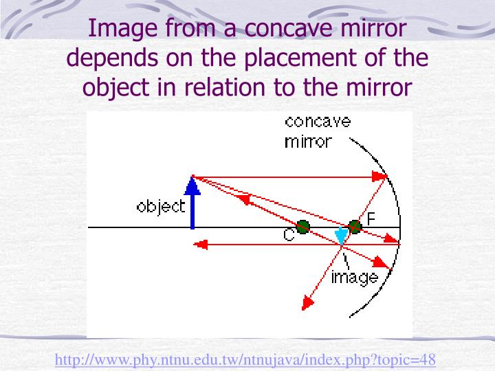 Image from a concave mirror depends on the placement of the object in relation to the mirror