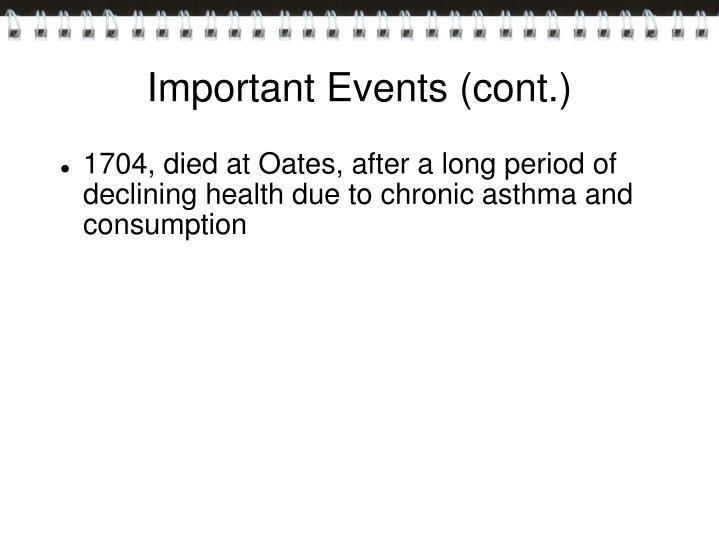 Important Events (cont.)