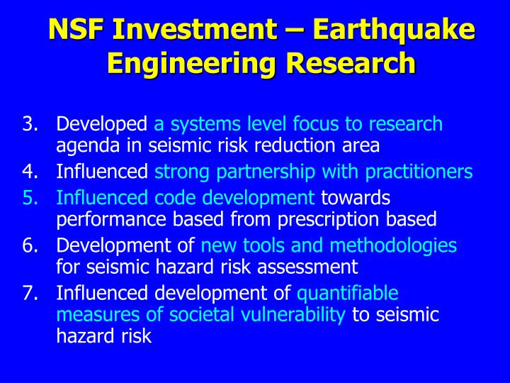 NSF Investment – Earthquake Engineering Research