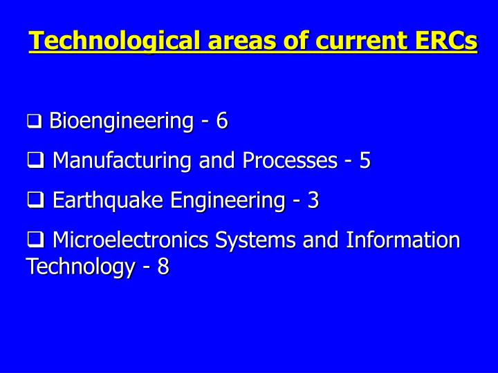 Technological areas of current ERCs