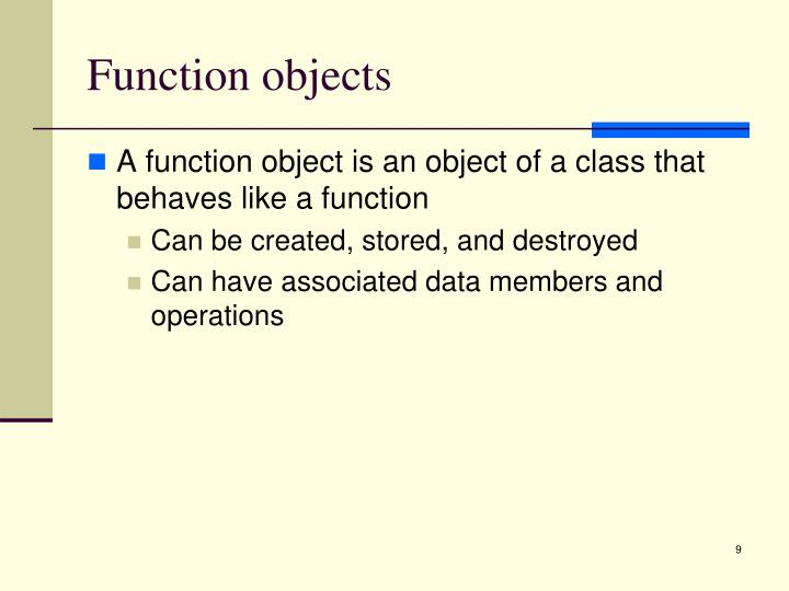 Function objects