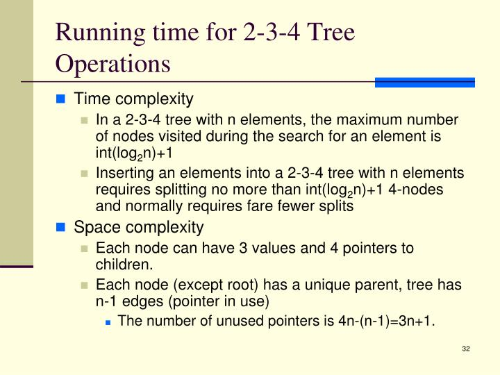 Running time for 2-3-4 Tree Operations