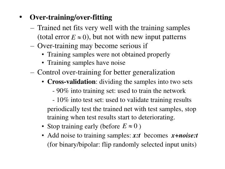 Over-training/over-fitting