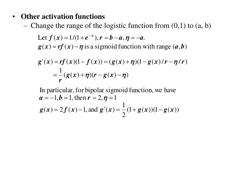 Other activation functions