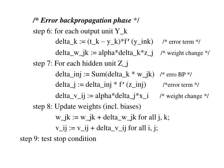 /* Error backpropagation phase
