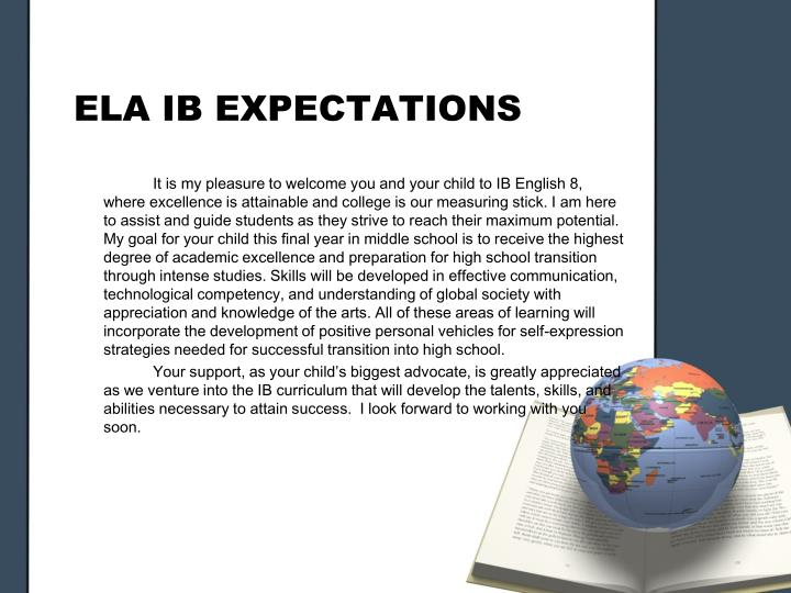 ELA IB EXPECTATIONS