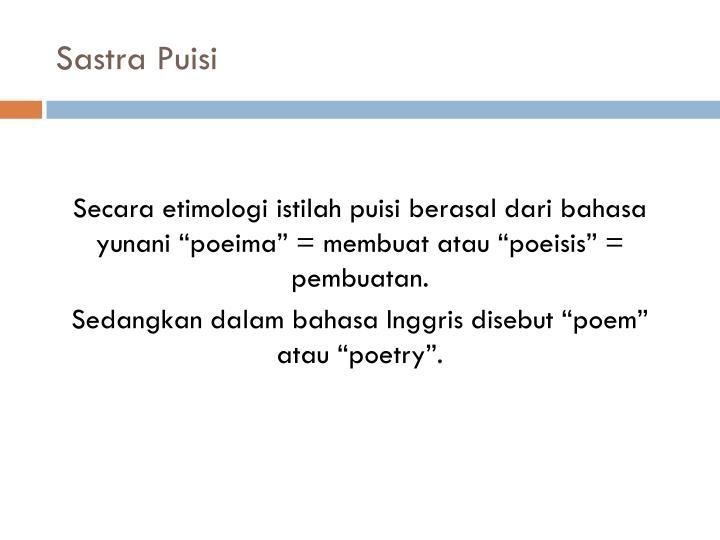Sastra Puisi