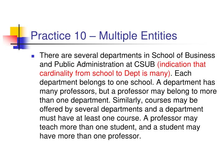 Practice 10 – Multiple Entities