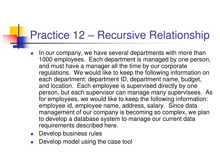 Practice 12 – Recursive Relationship