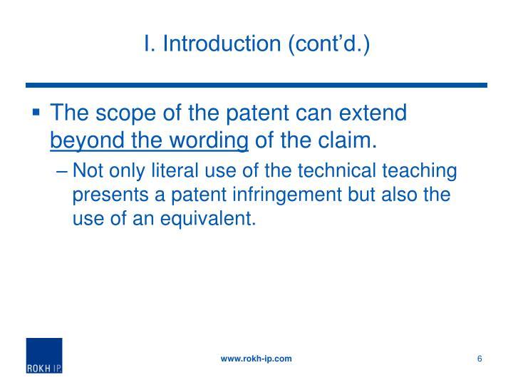 I. Introduction (cont'd.)