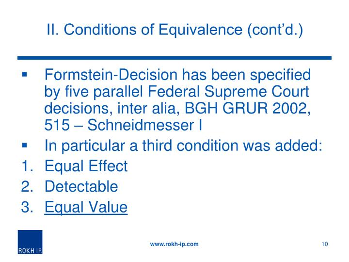 II. Conditions of Equivalence (cont'd.)