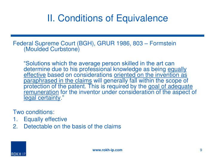 II. Conditions of Equivalence