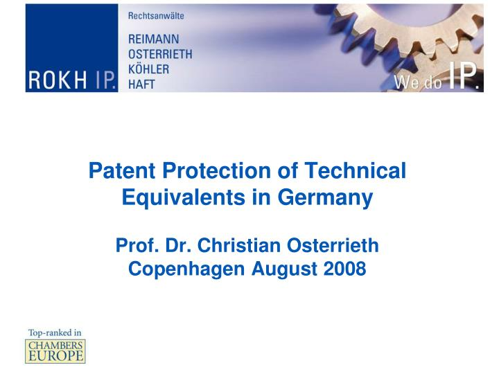 Patent Protection of Technical Equivalents in Germany
