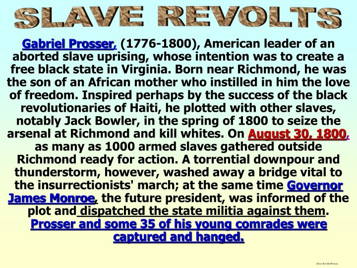 Slave Revolts/Prosser