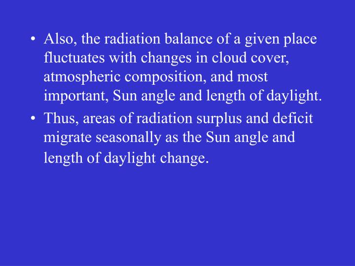 Also, the radiation balance of a given place fluctuates with changes in cloud cover, atmospheric composition, and most important, Sun angle and length of daylight.