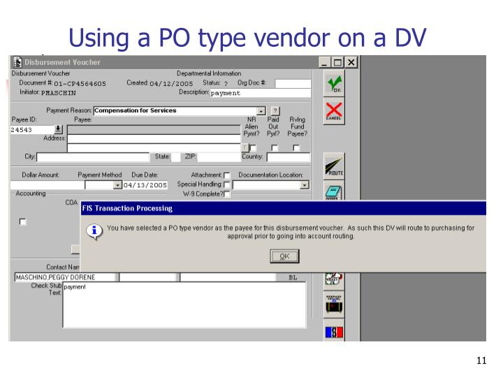 Using a PO type vendor on a DV