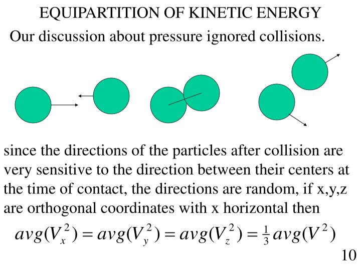 EQUIPARTITION OF KINETIC ENERGY