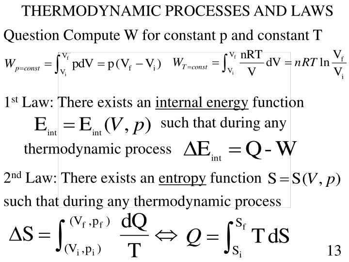 THERMODYNAMIC PROCESSES AND LAWS