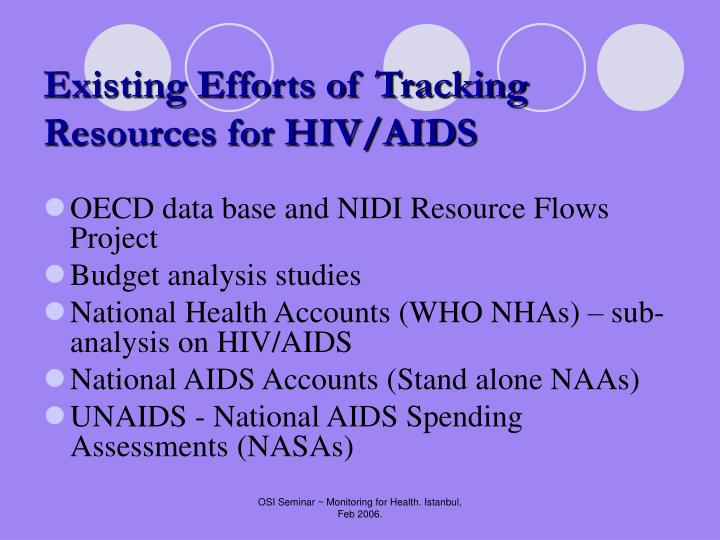 Existing Efforts of Tracking Resources for HIV/AIDS